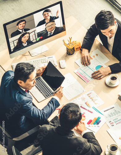 Fotografiet Video call group business people meeting on virtual workplace or remote office