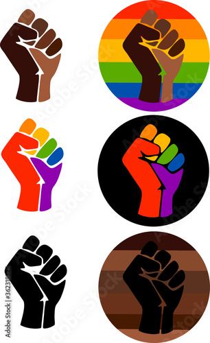 Canvas Print Symbol of the LGBT community, a fist in a rainbow circle