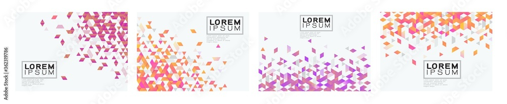 Fototapeta Set of colorful gradient triangle on white background with space. Modern background for business or technology presentation. vector illustration