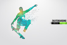 Skateboarding. Abstract Silhouette Of A Wireframe Skateboarder From Particles On The White Background. Convenient Organization Of Eps File. Vector Illustartion. Thanks For Watching