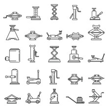 Modern Jack-screw Icons Set. O...