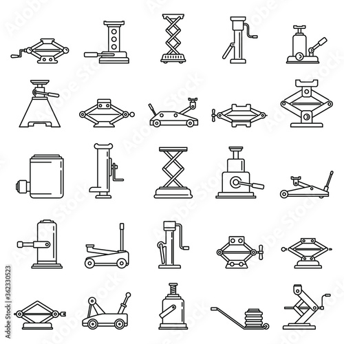 Modern jack-screw icons set Fotobehang
