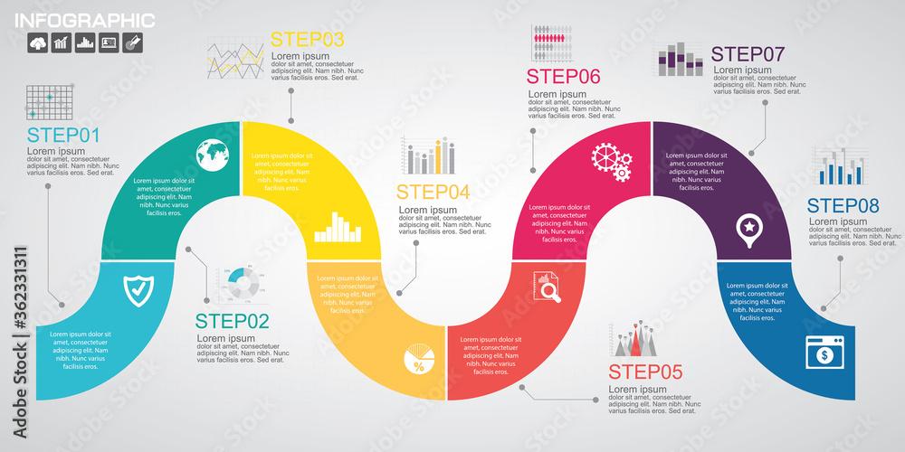 Fototapeta Timeline infographics design template with options, process diagram, vector eps10 illustration