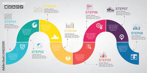 Valokuvatapetti Timeline infographics design template with options, process diagram, vector eps1