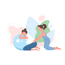 Coach With Pregnant Woman Flat Color Vector Faceless Character