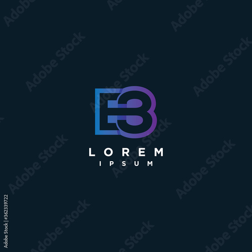 Fototapeta Initial letter E and number eight or 8 logo icon design template elements obraz