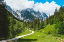 Alpine Scene On A Sunny Day In...