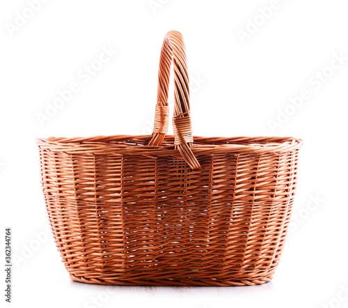 Obraz na plátně Empty wicker basket isolated on white