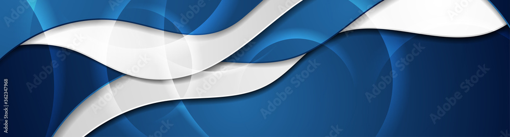 Fototapeta Blue and grey abstract glossy waves corporate background. Futuristic wavy vector banner design