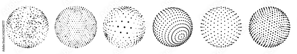 Abstract 3D dots sphere. Vector set of sphere shape design with abstract black dots, global halftone pattern illustration
