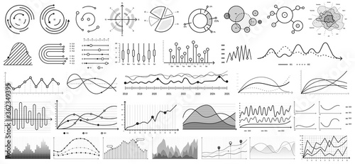 Line charts. vector set. Illustration business chart and graph, diagram presentation growth line and bar. Infographic arrow statistic