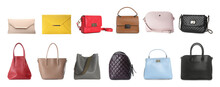 Set Of Different Woman's Bags On White Background. Banner Design