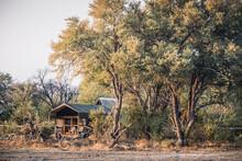 Luxury Safari Tent In A Tented Camp In The Okavango Delta Near Maun, Botswana, Africa Under Large Trees