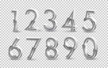 Silver Numbers Isolated On Tra...