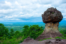 Rock Sculpture By Nature With Great View At Phu Hin Jom Thad National Park, Udonthani, Thailand.