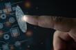 Biometric identification concept with fingerprints