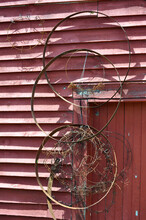 Rusty Metal Hoops And Wire Han...