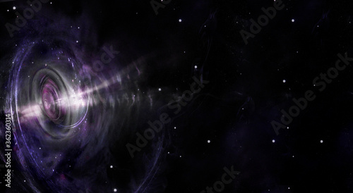 Fotografering Black hole over star field in outer space, abstract space wallpaper with copy space