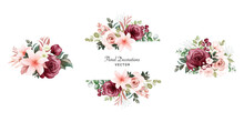 Set Of Watercolor Floral Frame...