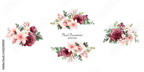 Fototapeta Set of watercolor floral frame bouquets of peach and burgundy roses and leaves. Botanic decoration illustration for wedding card, fabric, and logo composition obraz