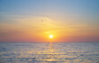canvas print picture Sun and sea sunset background.