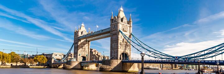 Tower Bridge in London, UK, United Kingdom. Web banner in panoramic view.