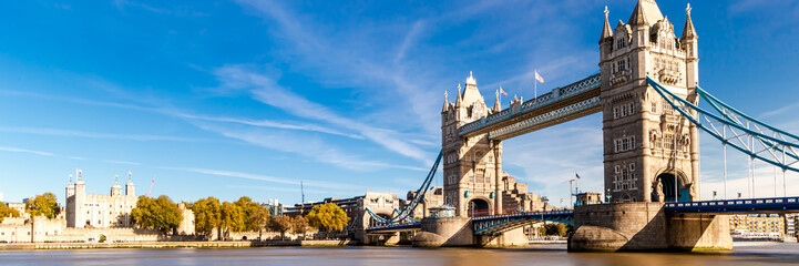 Tower Bridge in London, UK, United Kingdom. Web banner in panoramic view.