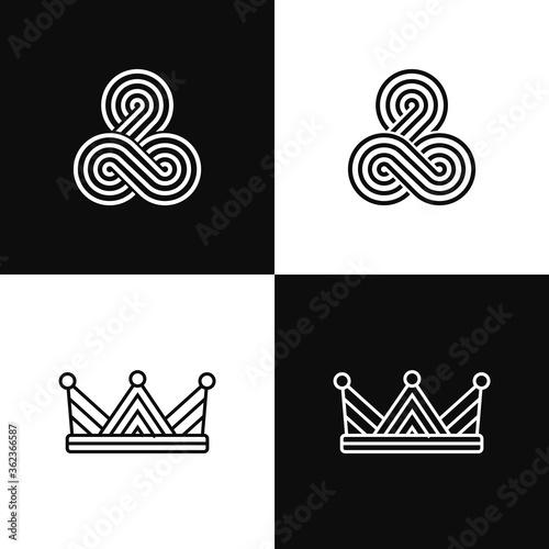 Fotografie, Obraz Simple Geometric king and queen crown logo set