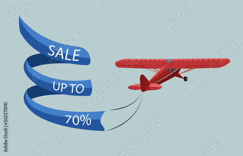 Fotografie, Obraz Air banner with single engine turboprop plane. Sale template