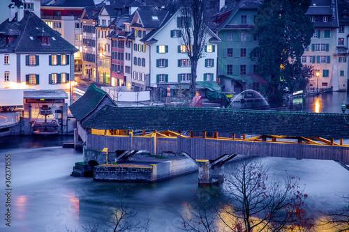 Fototapeta Wooden bridge in Lucerne