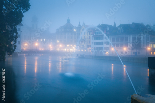 Photo Panorama of Lucerne in morning fog