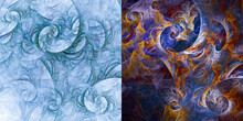 Set Of Two Abstract Fractal Ba...