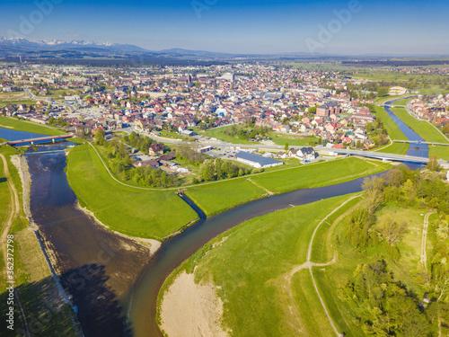 Fototapeta Czarny and Bialy Dunajec Rivers meeting in Nowy Targ obraz