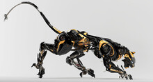 Futuristic Hunting Panther Unit. Crouching Black-orange Cyber Cat 3d Rendering