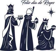 Laser Cutting Nativity Template. Silhouette Of Three Wise Kings Isolated. 3 Magi Men Bringing Gifts To Jesus. Die Cut Vector Design. Spanish Feliz Dia Del Reyes Invitation.