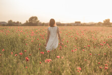 Beautiful Girl Stands In A Poppy Field Backwards