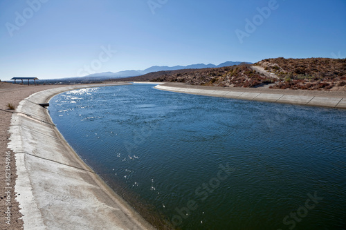 View of the California Aqueduct crossing the Mojave desert in northern Los Angeles County. #362394986