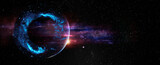 Fototapeta Kosmos - Black hole over star field in outer space, abstract space wallpaper with form of letter O and sparks of light with copy space. Elements of this image furnished by NASA.