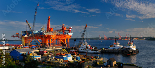 Photo Louisiana Oil Rig under repair at Woodside Dartmouth in Halifax Harbour Nova Sco