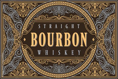 Bourbon whiskey - ornate vintage decorative label Wallpaper Mural