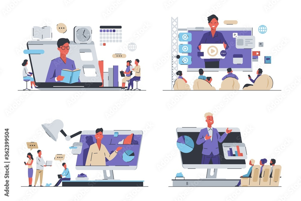 Online video training. Coronavirus isolation and work from home concept, employee training and business meeting. Vector isometric image set of online tutorial for learned student - obrazy, fototapety, plakaty