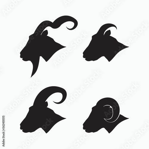 side face of sheep, goat, billy goat, angora goat set - mammal, animal vector ic Wallpaper Mural