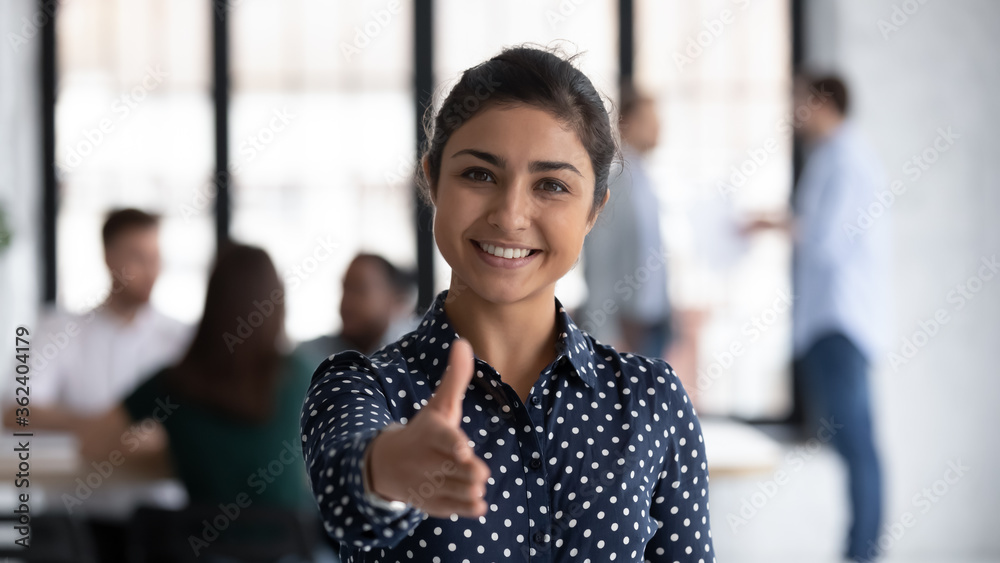 Fototapeta Head shot of friendly indian boss greeting client stretch out hand welcoming express amity good manners meet job vacancy applicant, first acquaintance, human resource HR manager recruiter work concept