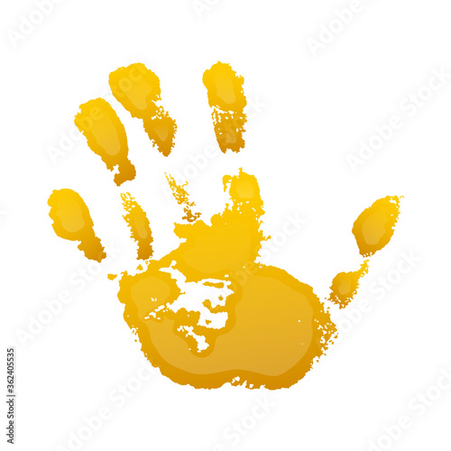 Fototapety, obrazy: Hand paint print 3D, isolated white background. Yellow human palm and fingers. Abstract art design, symbol identity people. Silhouette child, kid, people handprint. Grunge texture. Vector illustration