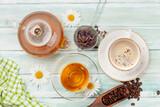 Fototapeta Tulipany - Various herbal tea and espresso coffee
