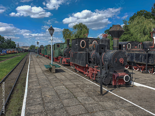 Old steam engine locomotives on narrow gauge tracks in the museum Canvas Print