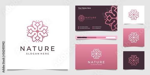 Valokuva Elegant flower logo design line art