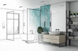 Leinwanddruck Bild - Drawing bathroom interior with white bath