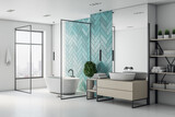 Minimalistic turquoise bathroom interior with bath