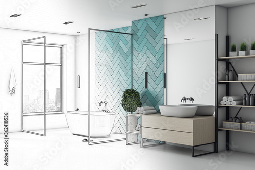 Drawing bathroom interior with white bath